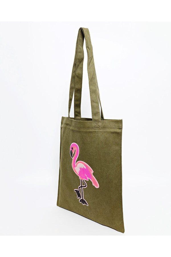 Sequin Flamingo Khaki Canvas Tote Bag-SinglePrice