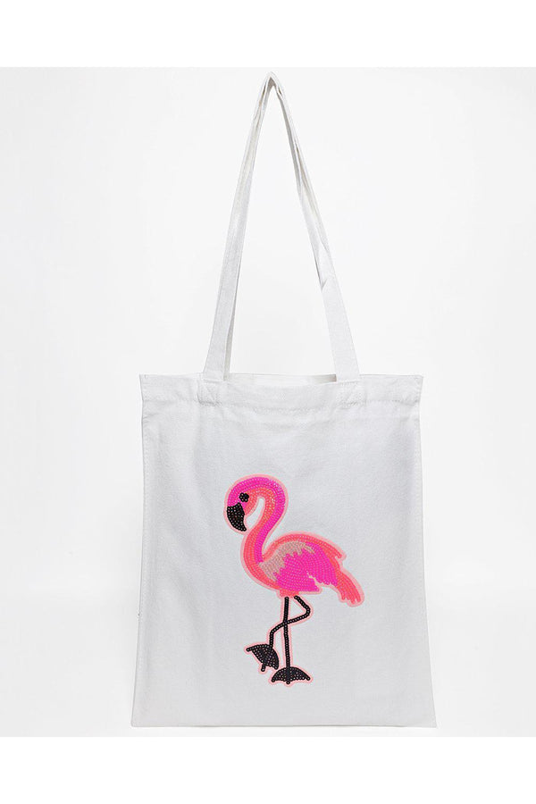Sequin Flamingo White Canvas Tote Bag-SinglePrice