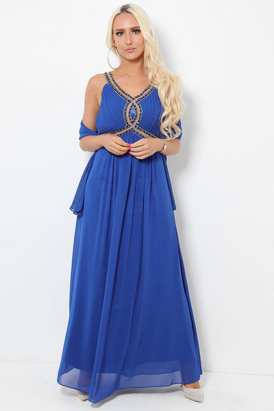 Embellished Bust Royal Blue Maxi Dress-SinglePrice
