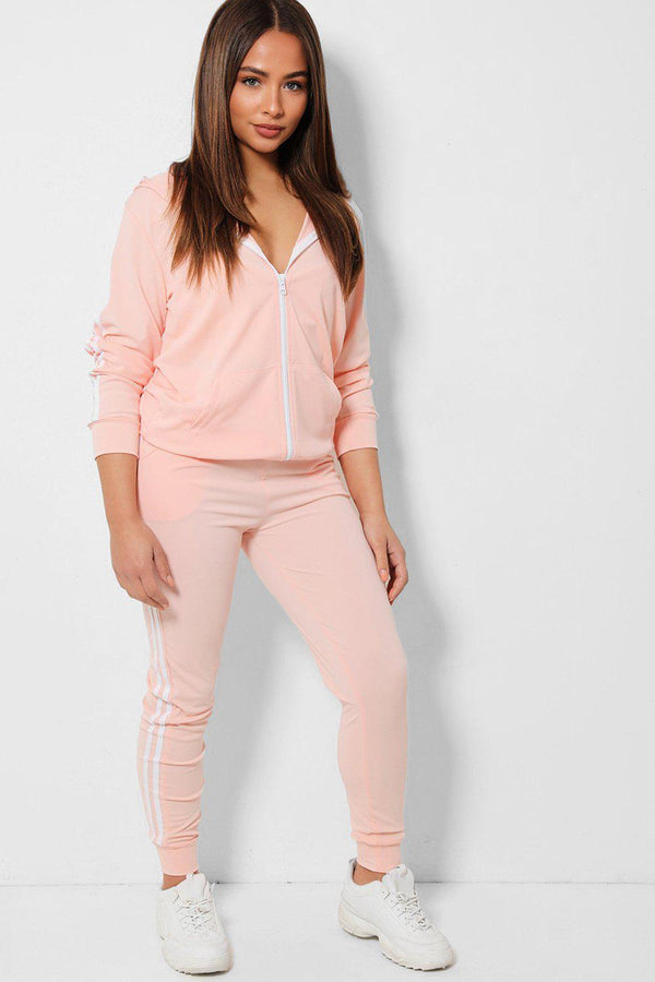 Light Pink Twin White Stripe Lightweight 2 Piece Tracksuit - SinglePrice