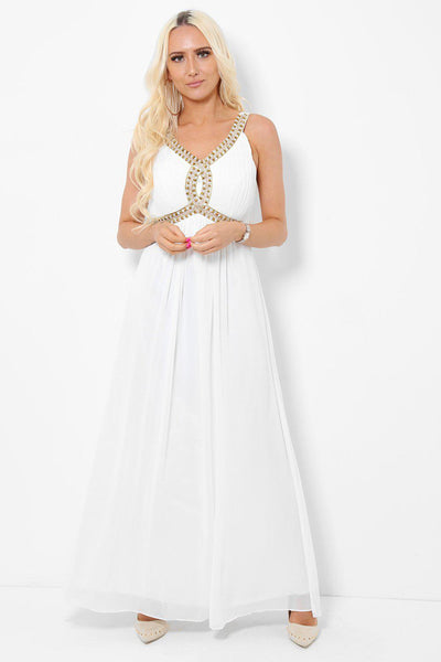 Embellished Bust Royal White Maxi Dress-SinglePrice