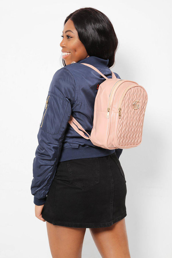 Gold Logo Ribbed Front Pink Backpack-SinglePrice