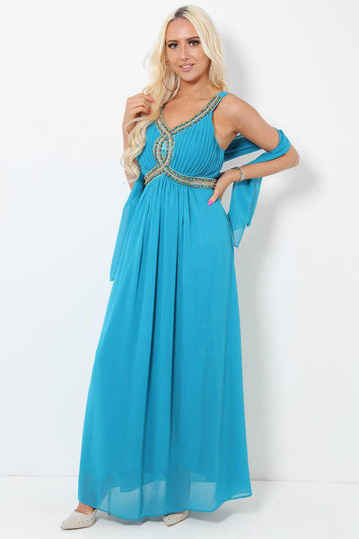 Embellished Bust Teal Maxi Dress-SinglePrice
