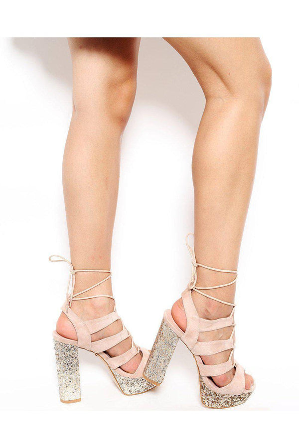 Gold Glitter Platform Lace Up Sandals-SinglePrice