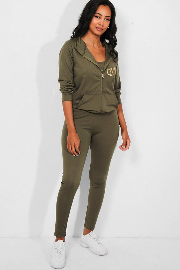 Khaki Queen Slogan 3 Piece Tracksuit