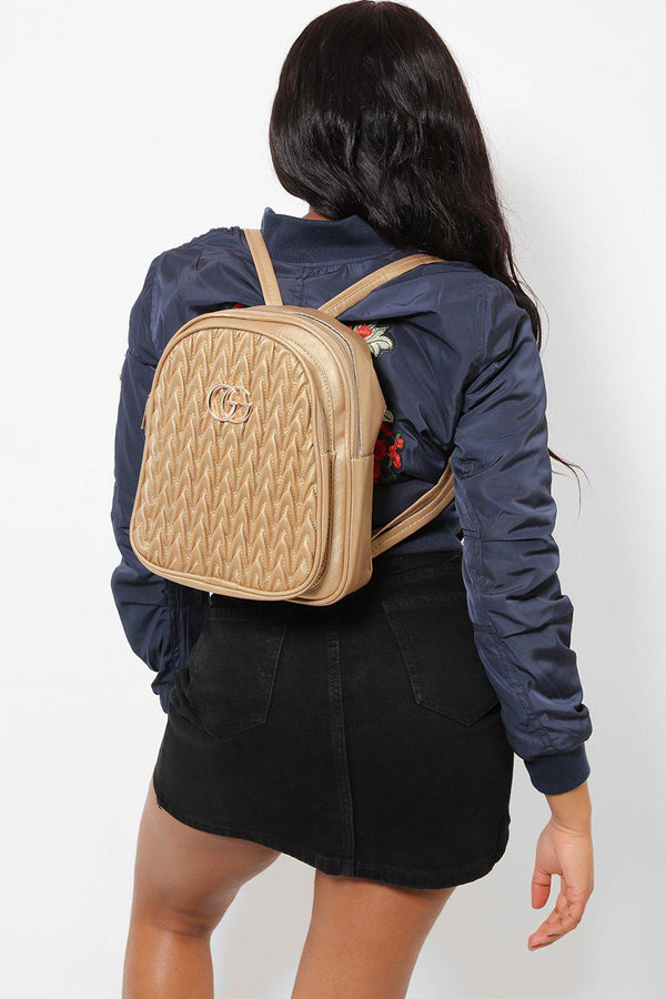 Gold Logo Ribbed Front Gold Backpack-SinglePrice