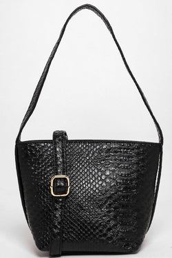 Black Croc Skin Effect Mini Bucket Bag-SinglePrice