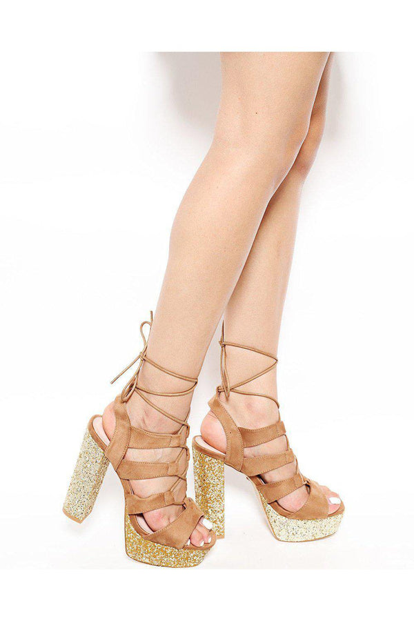 Camel Glitter Platform Lace Up Sandals - SinglePrice