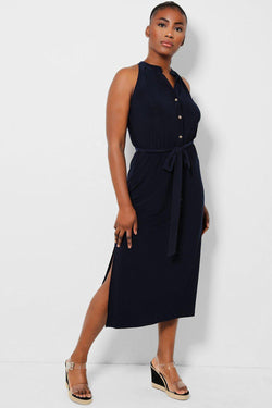 Navy Self-Belt Sleeveless Midaxi Dress - SinglePrice