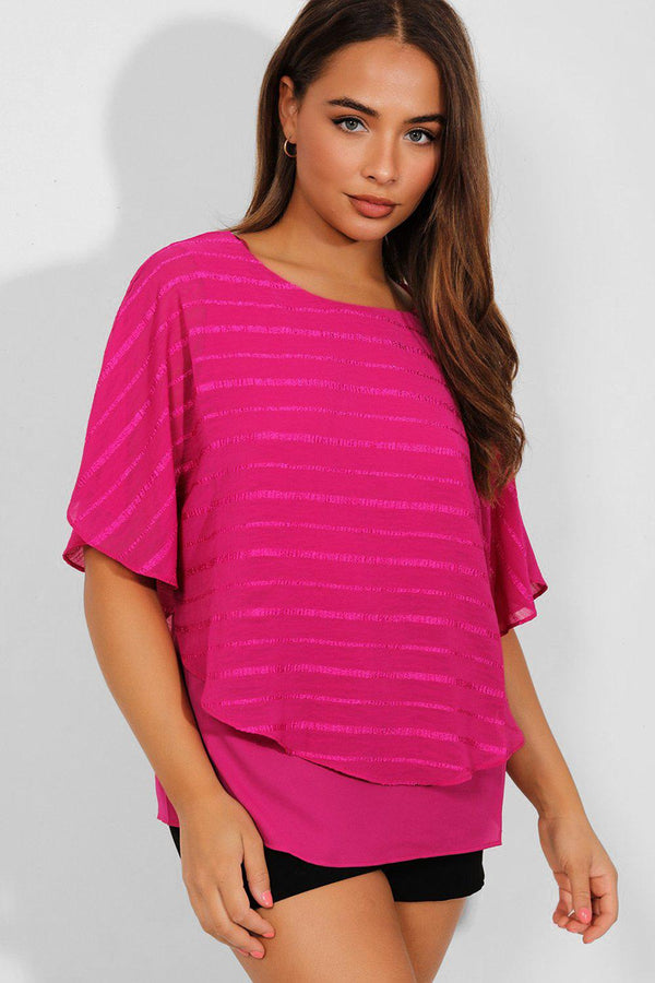 Juicy Purple Shimmer Stripes Batwing Blouse - SinglePrice