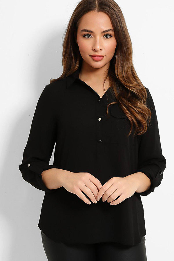 Black Chiffon Roll Up Sleeves Curved Hem Blouse - SinglePrice