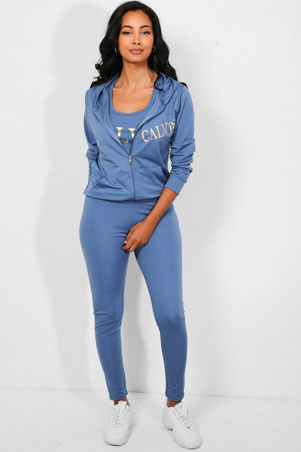 Blue Gold Slogan Hooded 3 Piece Lounge Set-SinglePrice