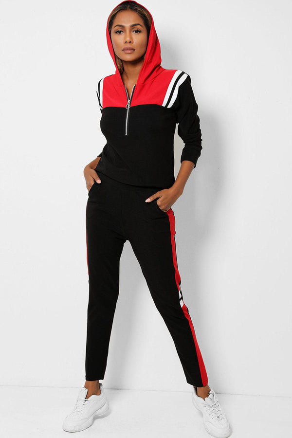 Black Burgundy Hooded Zip Neck 2 Piece Tracksuit-SinglePrice