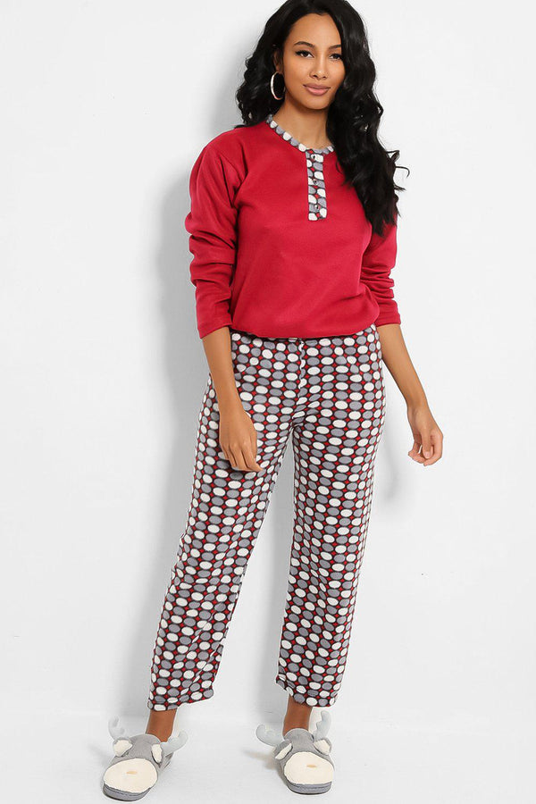 Burgundy Grey Fleece Polka Dot Pyjama - SinglePrice