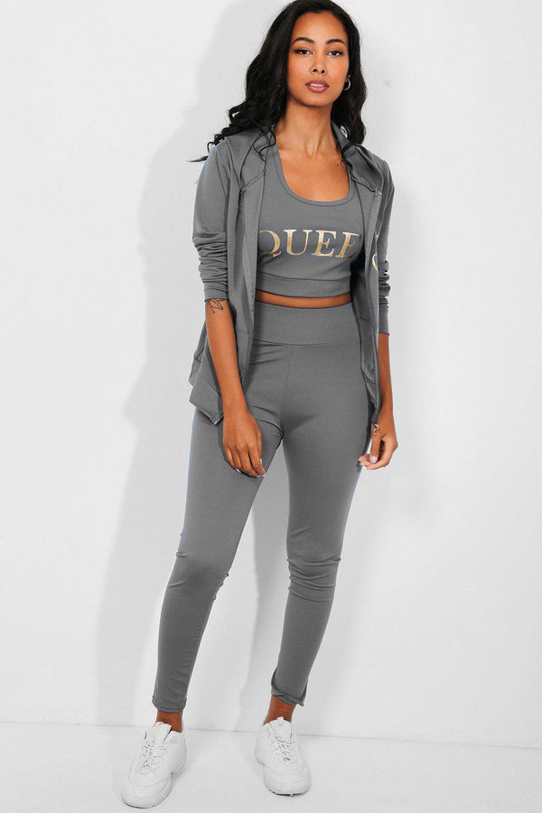 Grey Queen Slogan 3 Piece Tracksuit