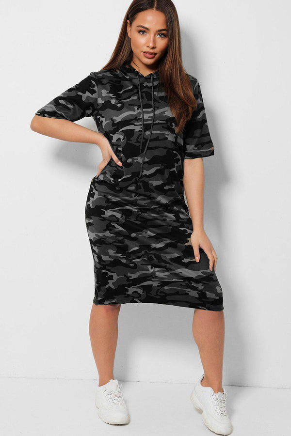 Grey Camouflage Print Longline Hooded Dress - SinglePrice