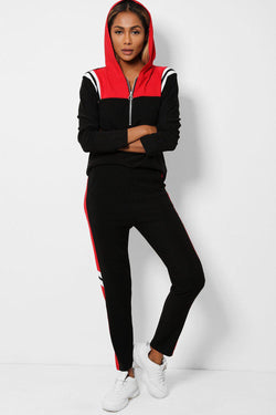 Black Burgundy Hooded Zip Neck 2 Piece Tracksuit - SinglePrice