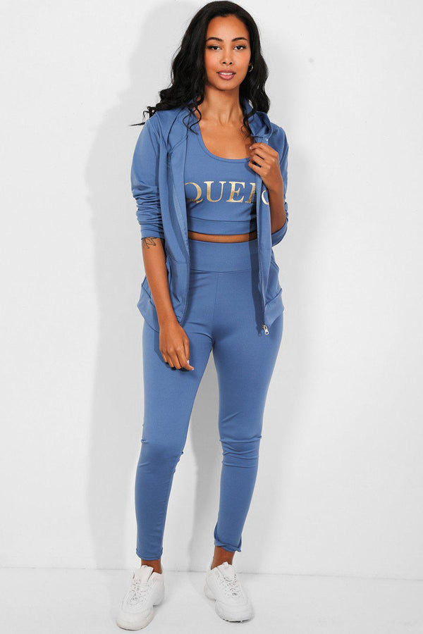 Blue Queen Slogan 3 Piece Tracksuit