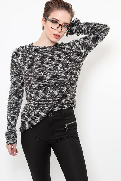 Black And White Soft Knit Sweater-SinglePrice