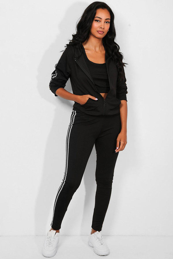 Silver Foil Twin Stripe Black 3 Piece Tracksuit
