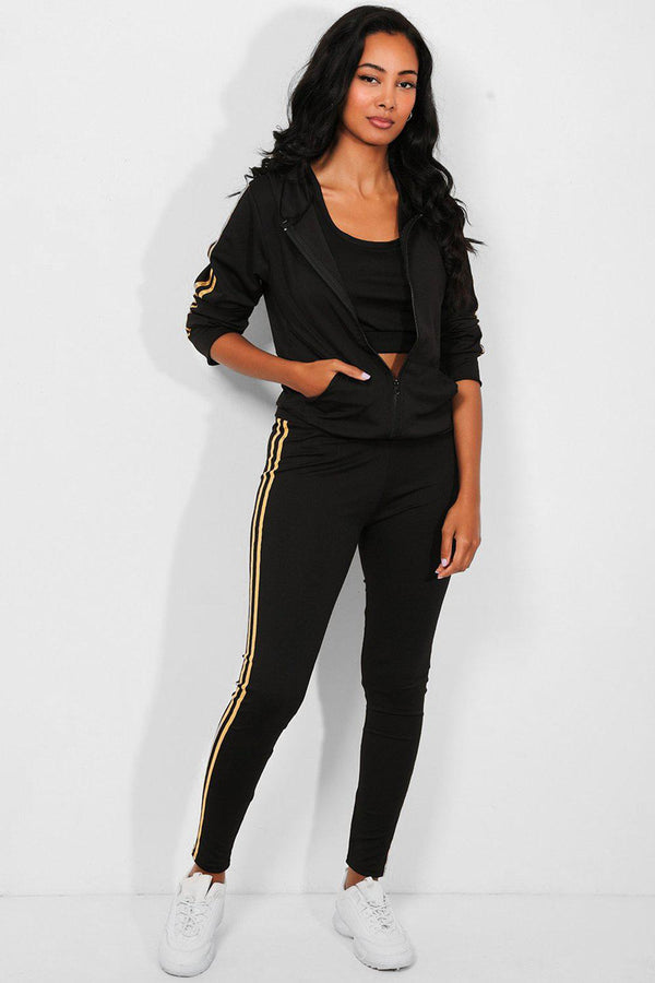 Gold Foil Twin Stripe Black 3 Piece Tracksuit