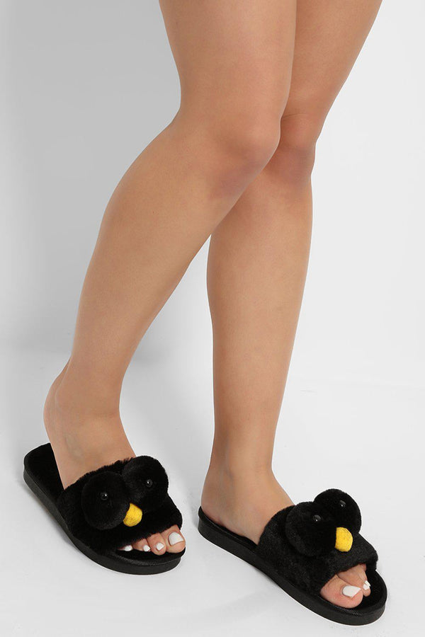 Black Fluffy Elmo Slippers - SinglePrice