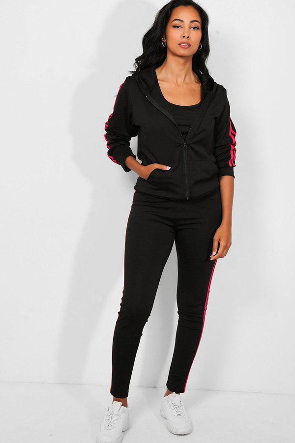 Pink Twin Stripe Black 3 Piece Tracksuit