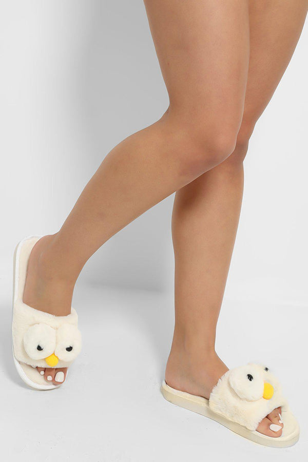 White Fluffy Elmo Slippers - SinglePrice