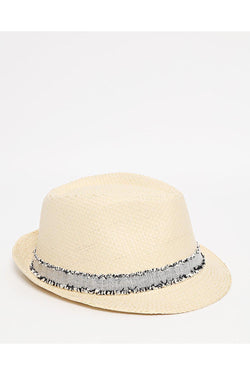 Distressed Trim Beige Straw Hat-SinglePrice