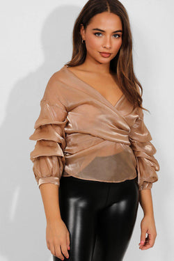Taupe Puff Sleeves Wrap Organza Blouse - SinglePrice
