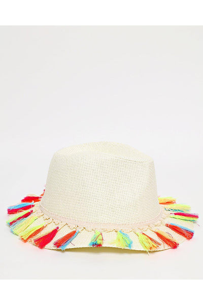 Multicolour Tassels Large Brim Off White Straw Hat-SinglePrice