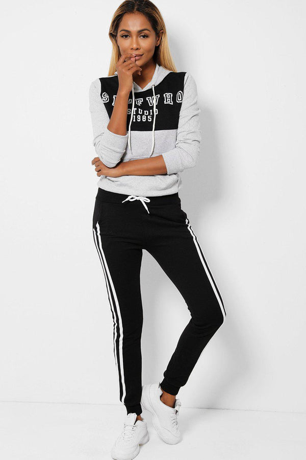 Grey Black SelfWho Slogan 2 Piece Tracksuit
