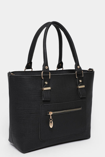 Black Zipped Pocket To Front Medium Tote-SinglePrice