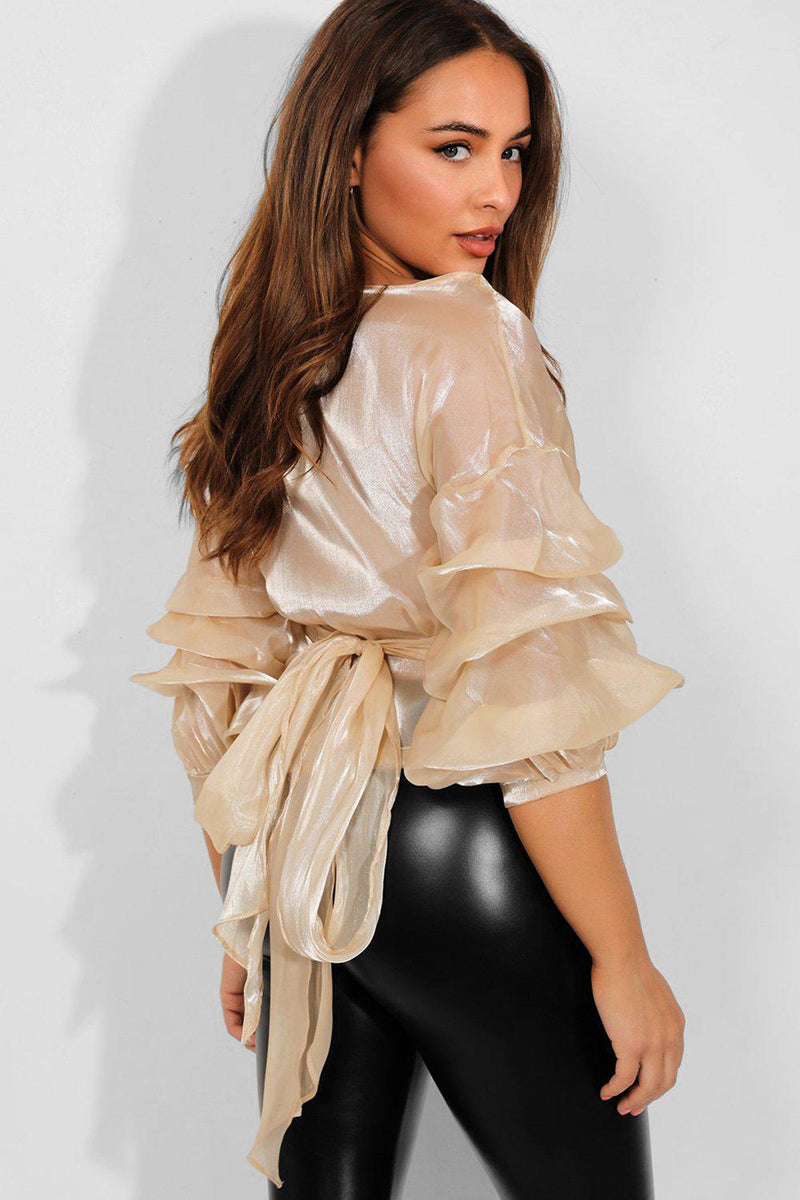 Beige Puff Sleeves Wrap Organza Blouse - SinglePrice