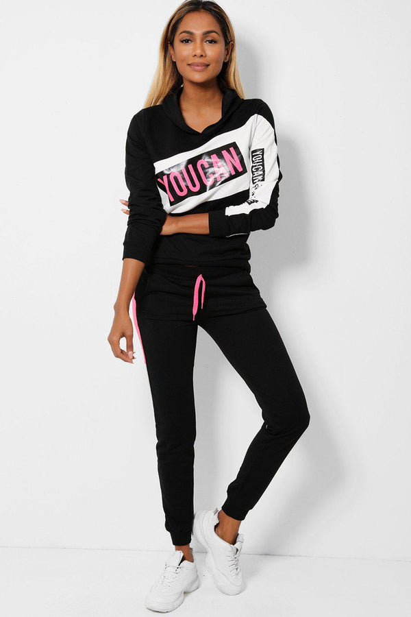 Black White YouCan Slogan 2 Piece Tracksuit