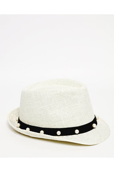 Pearls Embellished Trim Off White Straw Hat-SinglePrice