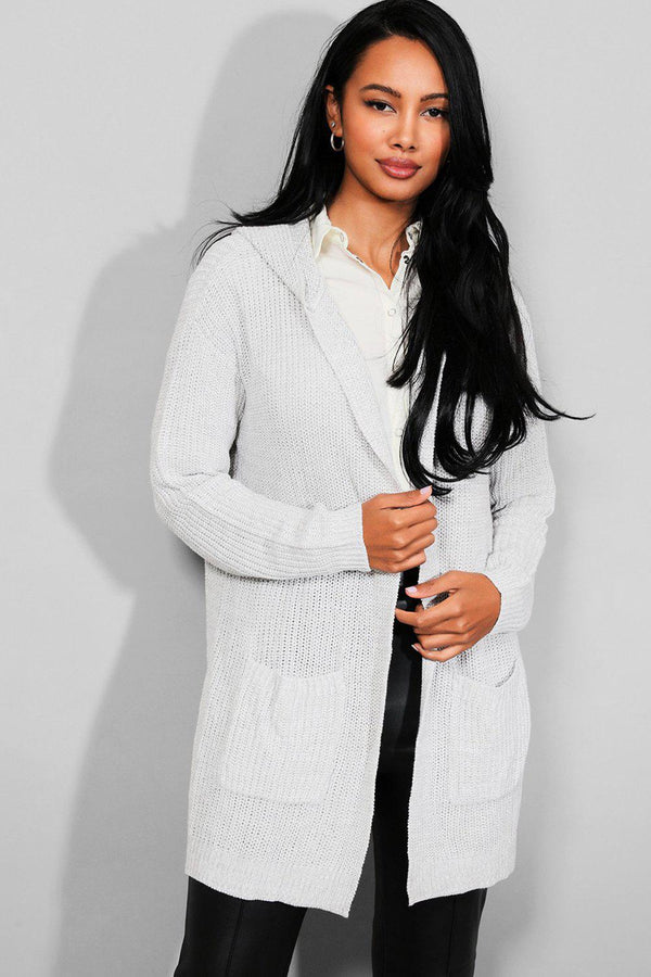 Light Grey Hooded Longline Knitted Cardigan - SinglePrice