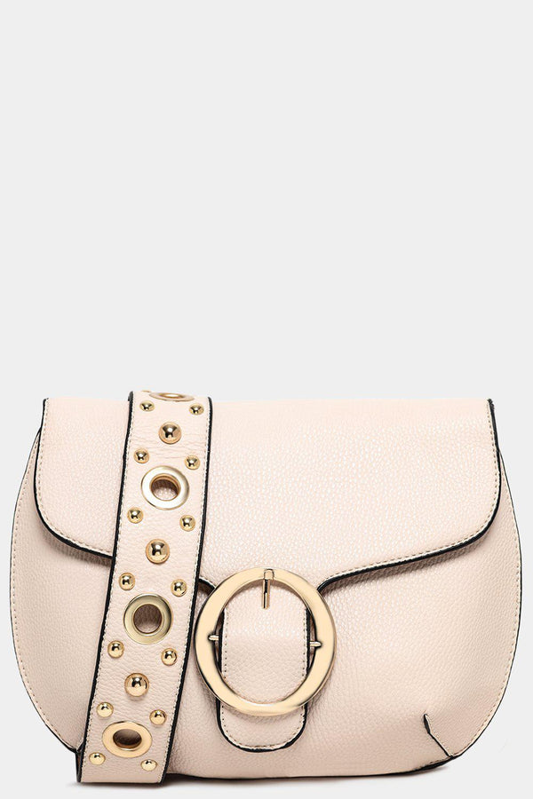 Beige Studded Shoulder Strap Saddle Crossbody Bag-SinglePrice