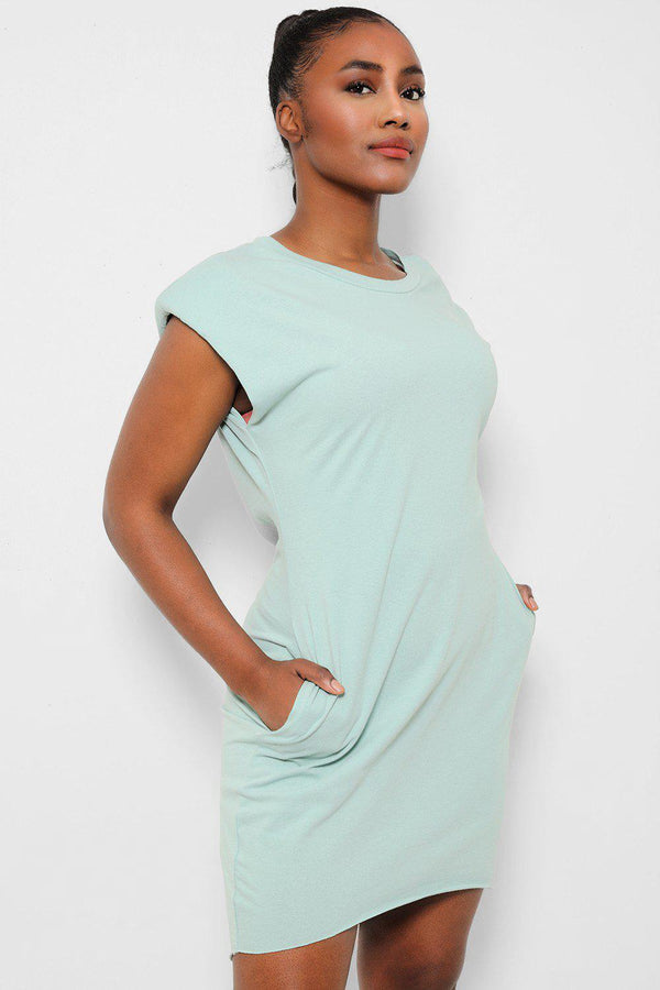 Mint Power Shoulders Sleeveless T-Shirt Dress