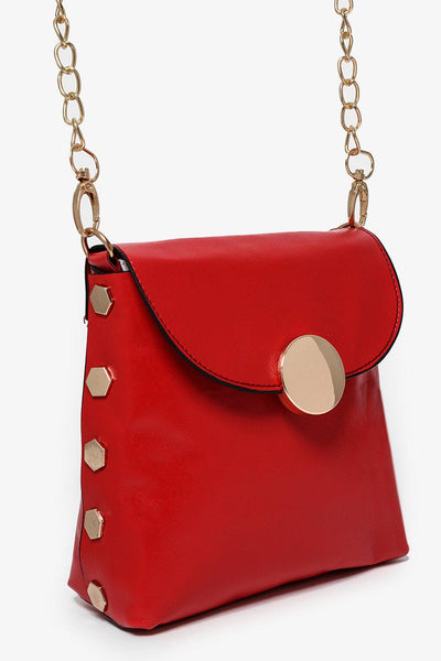 Gold Studs And Gold Chain Strap Red Mini Bag-SinglePrice