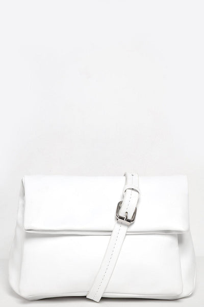 Folded Flap White Cross Body Bag-SinglePrice