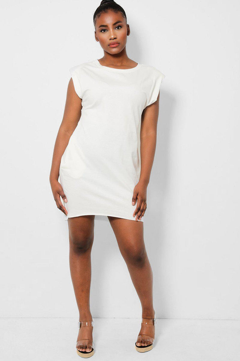 Cream Power Shoulders Sleeveless T-Shirt Dress - SinglePrice