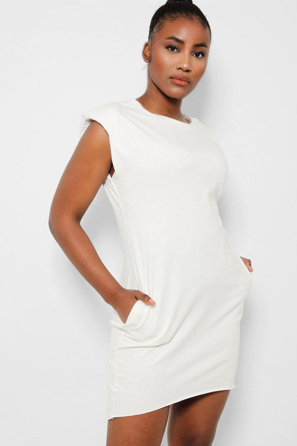 Cream Power Shoulders Sleeveless T-Shirt Dress