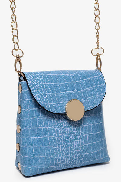 Gold Studs And Gold Chain Strap Blue Mini Bag-SinglePrice