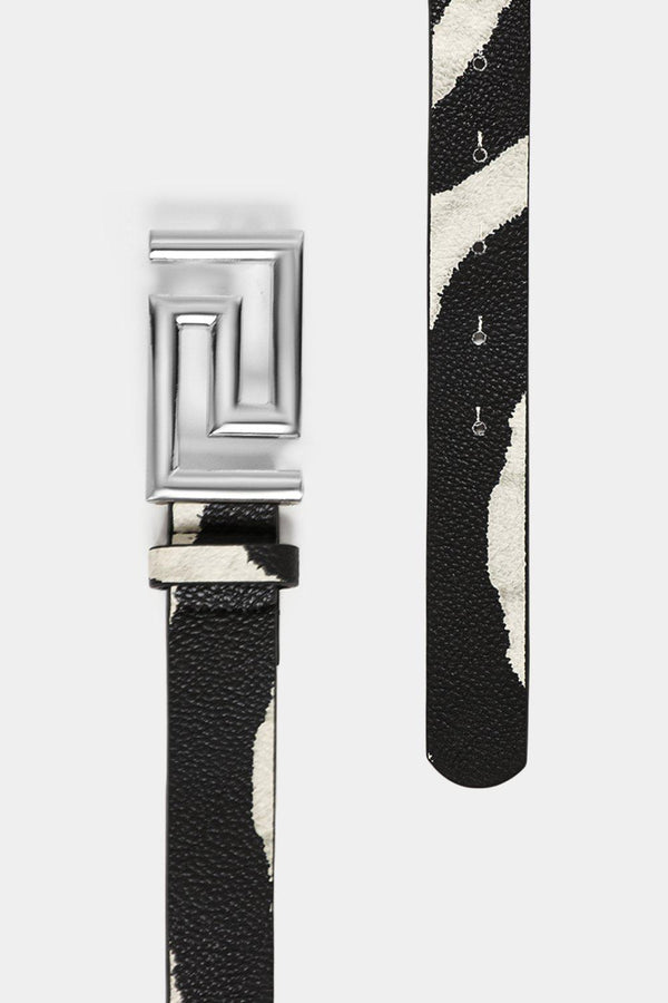 Greek Key Buckle Thin Zebra Vegan Leather Belt - SinglePrice