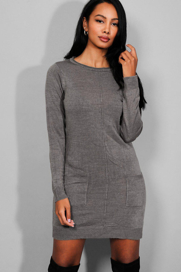 Dark Grey Front Seam And Pockets Knitted Dress - SinglePrice