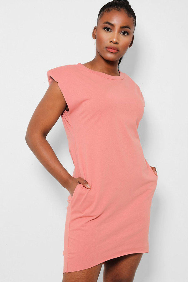 Pink Power Shoulders Sleeveless T-Shirt Dress