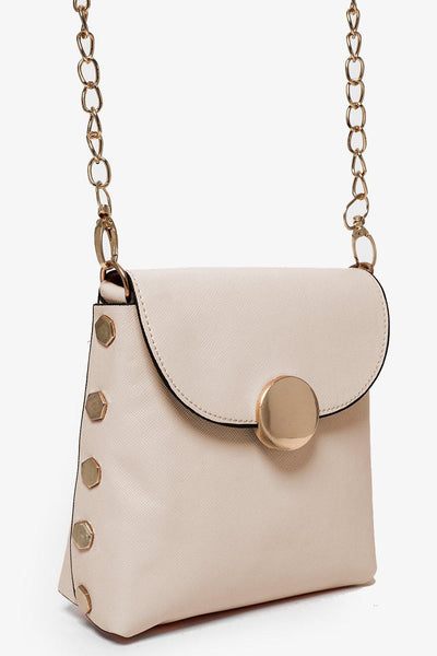 Gold Studs And Gold Chain Strap Cream Mini Bag-SinglePrice