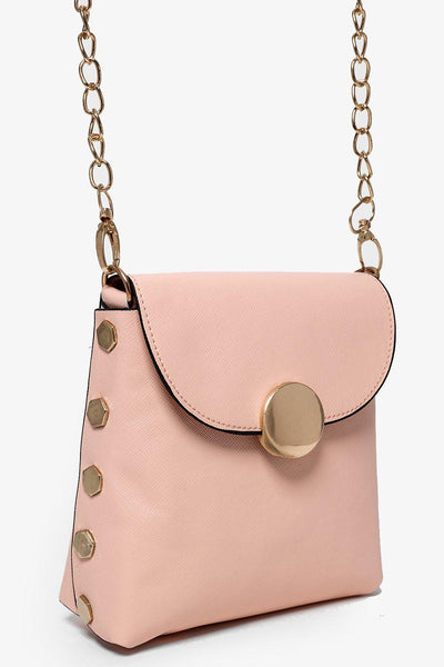 Gold Studs And Gold Chain Strap Pink Mini Bag-SinglePrice