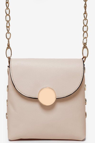 Gold Studs And Gold Chain Strap Beige Mini Bag-SinglePrice